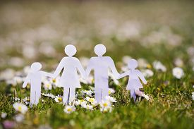 picture of life-support  - Paper cut of family with flowers background on a green grass - JPG
