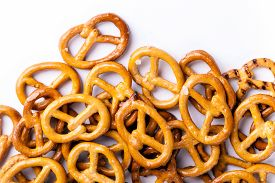 stock photo of pretzels  - food pretzel bread salty salt tasty brown snack - JPG