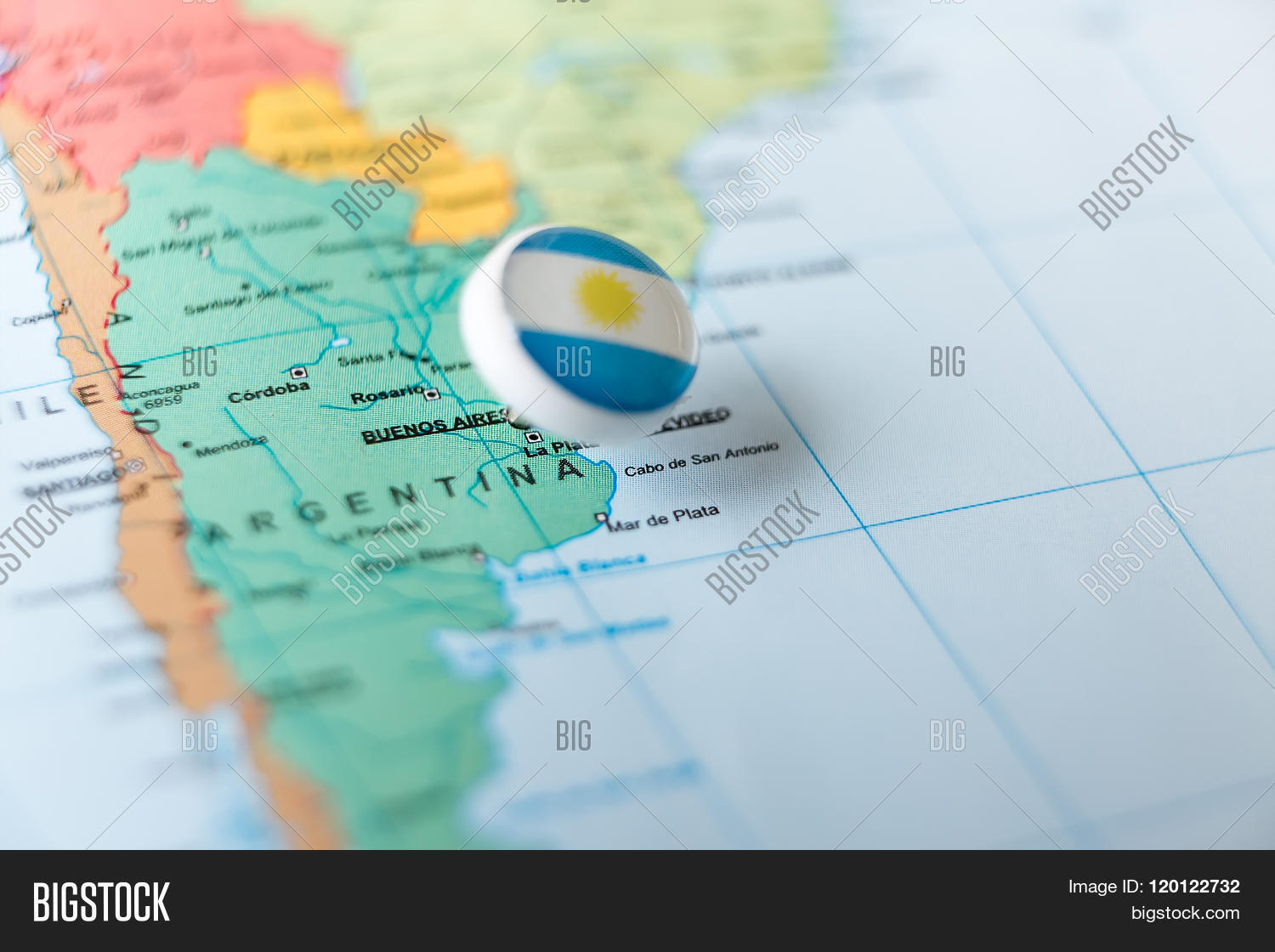 Pin Pointing Argentina On Map Of South America Stock Photo  Stock - South america argentina map