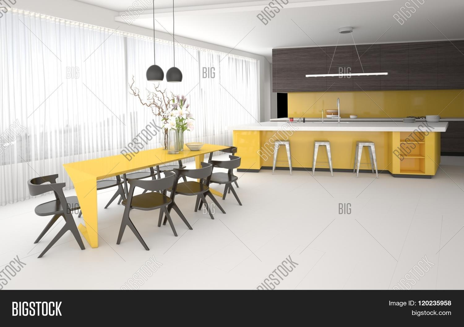 Luxury Elegant Yellow And Grey Kitchen And Dining Room Interior With A Spacious Open Plan Room