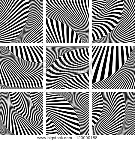 Abstract op art patterns set. Vector art.