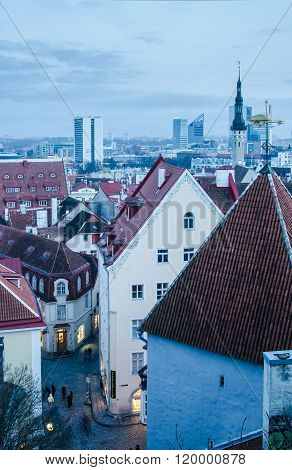 View Of The Roofs And Spiers Of Old Churches Of Tallinn