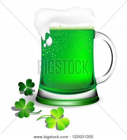 Green Beer In Glassware For St. Patrick's Day Card