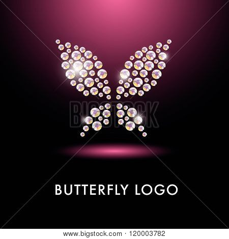 Abstract logo with butterfly character.