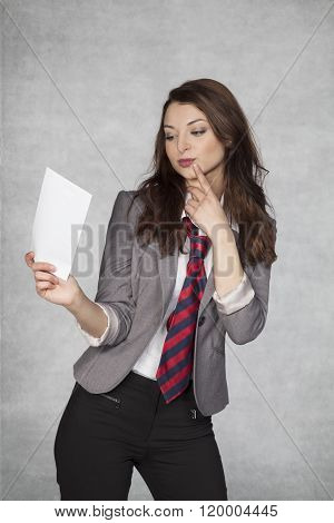 Business Woman Received An Envelope