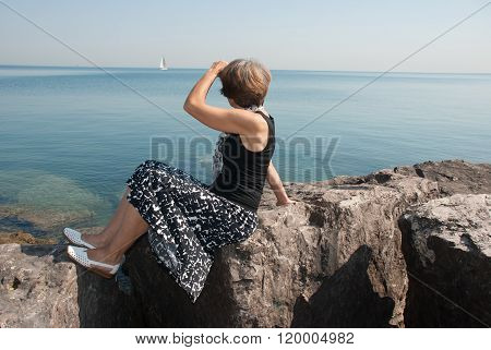 The Slender Woman On The Shore Michigan Lake