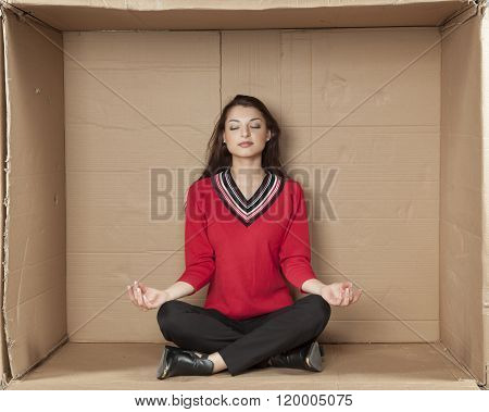 Business Woman Meditating In Office