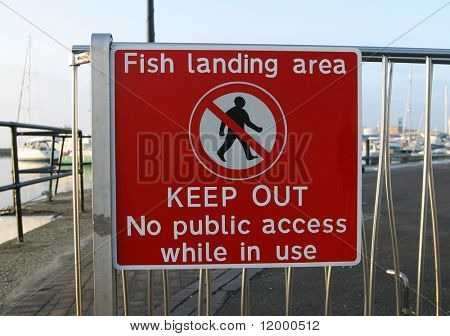 Sign, Fish Landing Area
