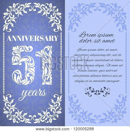 Luxury Template With Floral Frame And A Decorative Pattern For The 51 Years Anniversary. There Is A