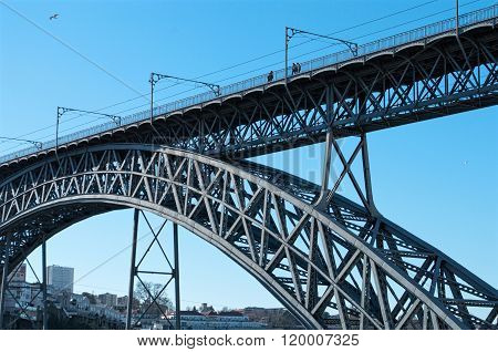 The Dom Luis I Bridge Over The River Douro In Porto, Portugal