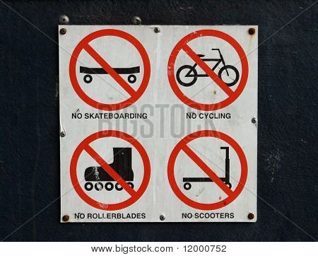 Sign, No Cyling, Skate Boarding, Scooters & Rollerblading