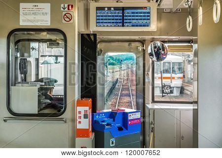 MIE JAPAN - NOVEMBER 20 2015: A train from Taki station to Ise sacred a town that host one of the most important shrine in Mie Prefecture Kansai region