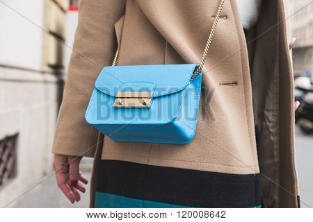 MILAN ITALY - FEBRUARY 25, 2016: Detail of bag outside Luisa Beccaria fashion show building during Milan Women's Fashion Week