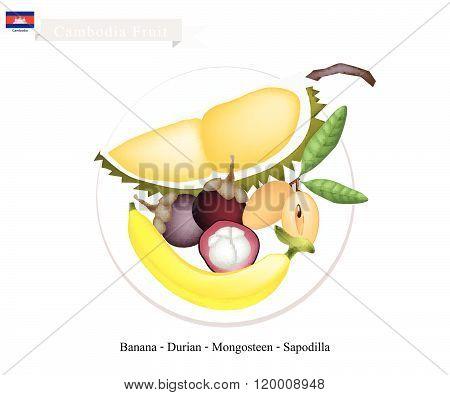 Cambodia Fruits Of Mangosteens, Banana, Durian And Sapodilla