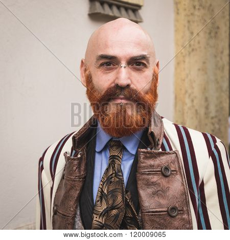Fashionable man At Milan Women's Fashion Week Fall/winter 16/17