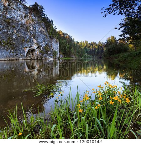 dawn on the river, russian nature, dawn in the forest with river, summer dawn