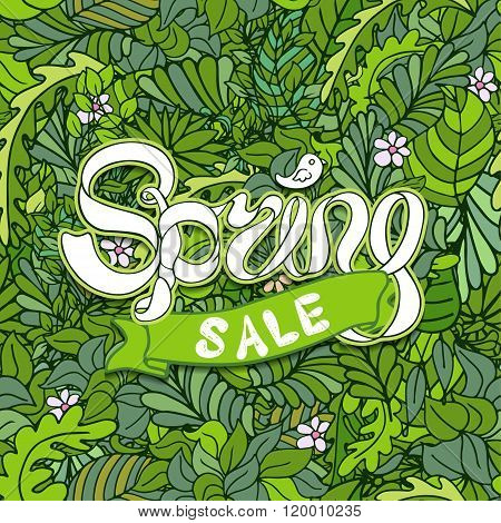 Vector Illustration Of Spring Sale With Ribbon On Leaves Composition
