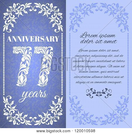 Luxury Template With Floral Frame And A Decorative Pattern For The 77 Years Anniversary. There Is A