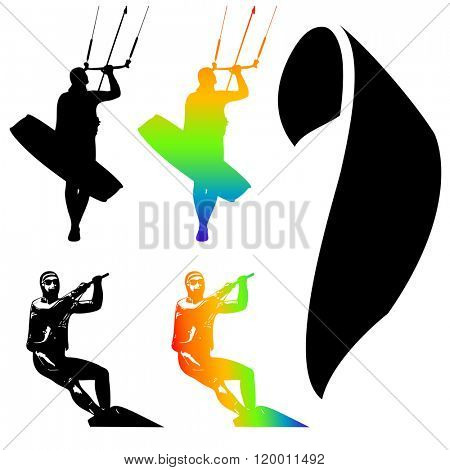 Illustration Icons of Kiteboarding. Extreme Sports.