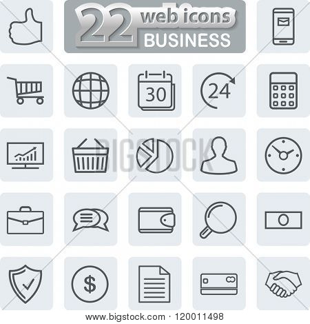 Business line Icons. Modern Web Collection Isolated on white background. Illustration.
