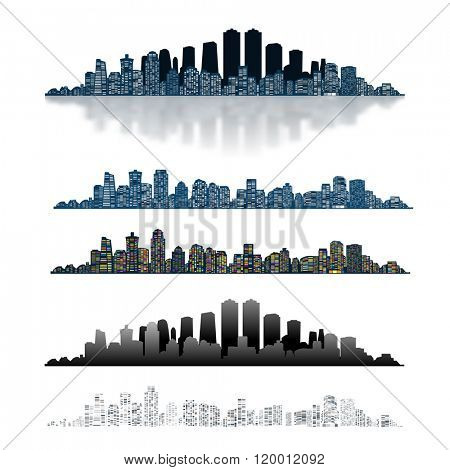 Modern Urban City Isolated on White background. Set Icon. Illustration