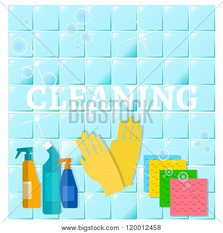 Cleaning Service Sanitation And Hygiene Cleaners Yellow Glove Cleans The Blue Tile