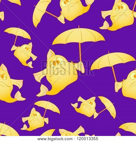 Yellow fish with umbrella. The dark background