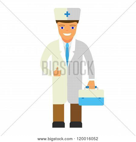 Flat vector illustration of a doctor.