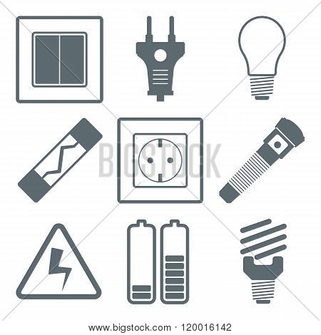Flat vector icons electrical accessories