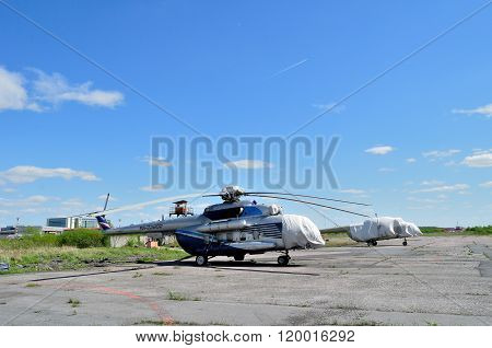 The Mil Mi-172  Helicopter Of Spetsneftegaz Company In Pulkovo Airport In Saint-petersburg, Russia