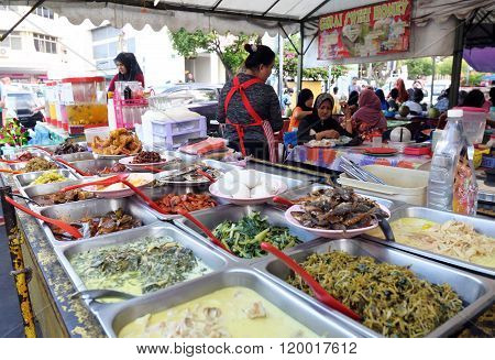 Variety of delicious Malaysian food