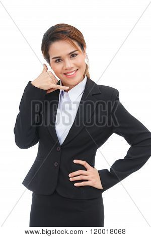 Asian Business Woman Making Call Me Sign Isolated On White Background