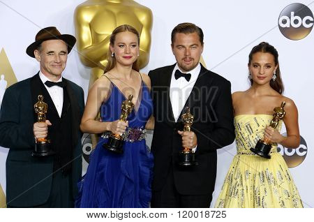 Mark Rylance, Alicia Vikander, Brie Larson and Leonardo DiCaprio at the 88th Annual Academy Awards - Press Room held at the Loews Hollywood Hotel in Hollywood, USA on February 28, 2016.