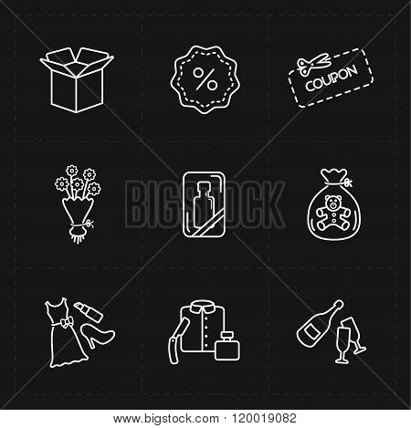 Gift flat contour shop icon set on black
