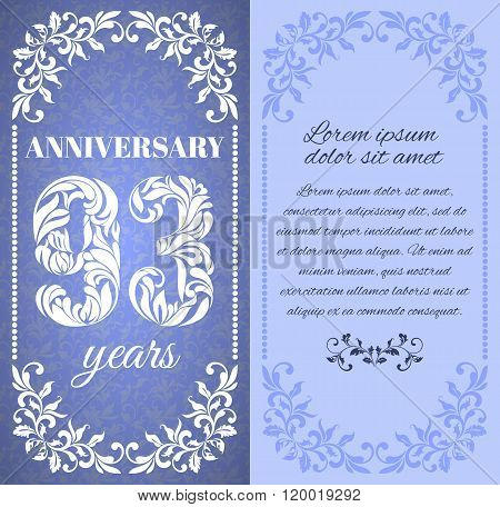 Luxury Template With Floral Frame And A Decorative Pattern For The 93 Years Anniversary. There Is A