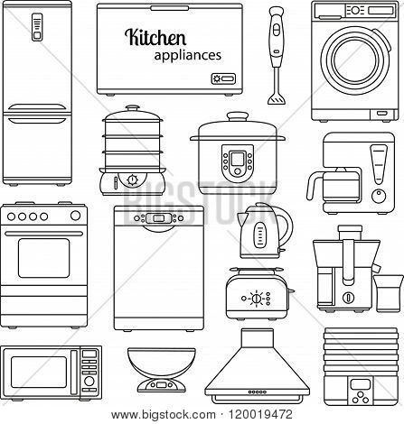 Set of line icons. Kitchen appliances. Oven and toaster, fridge and freezer, stove and dishwasher. C