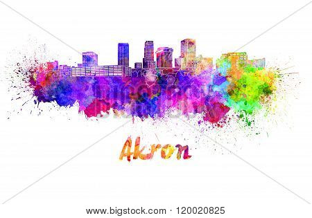 Akron Oh Skyline In Watercolor