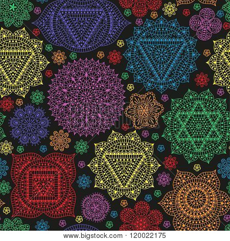 Seamless pattern with seven chakras and flowers. Oriental ornaments for henna tattoo and for your de