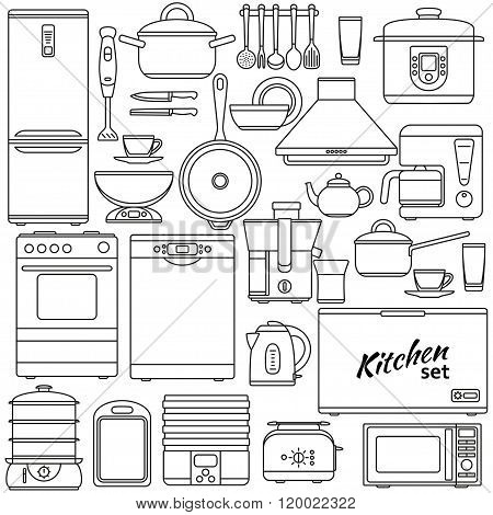Set of line icons. Kitchen appliances and accessories. Oven and saucepan, fridge and teapot, stove a