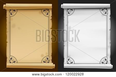 Old parchment and paper banners with black ornamental frame. Vector illustration