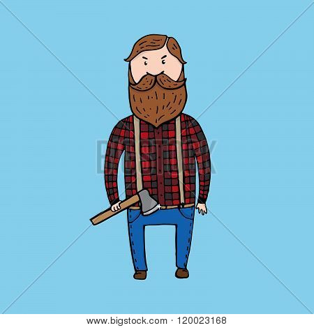 Cute Lumberjack With An Axe