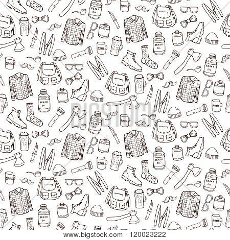 Seamless Pattern With Lumbersexual Elements