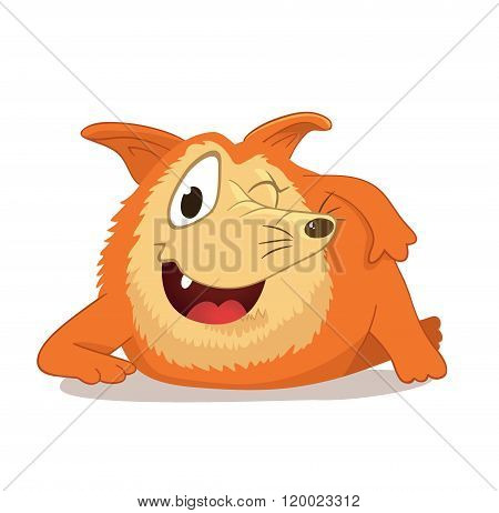 Cutet lying character with a long nose, reminiscent of a red fox or dog. Mascot character. Wily and