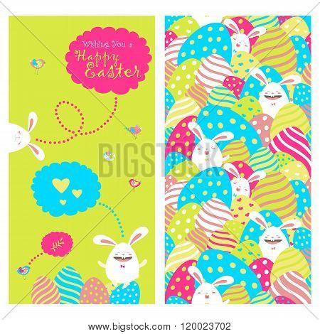 Greeting card with bunnies and easter eggs