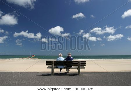 Retired couple at the seaside