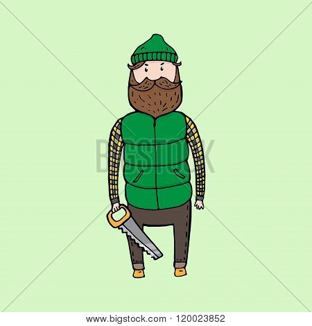 Cute Bearded Lumberjack With A Saw