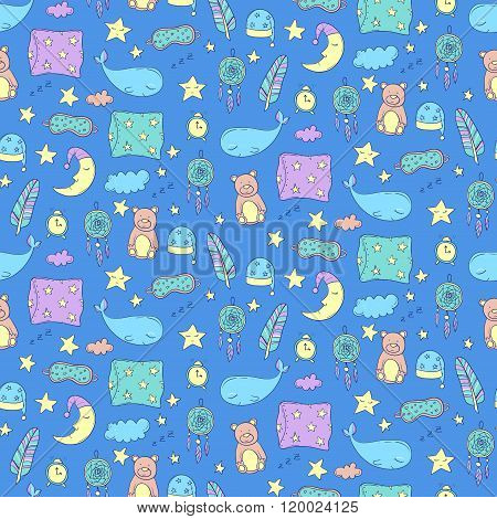 Seamless Pattern With Sleeping Whales, Pillows, Stars, Etc