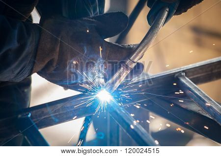Worker Welding Metal