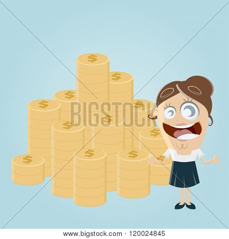 funny woman with stack of money