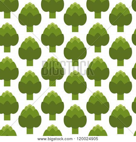 Seamless pattern with green artichoke